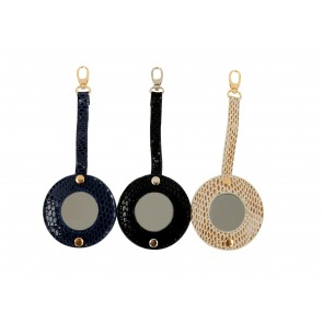 PACK OF 3 LEATHER MIRROR PK3 BLACK/NAVY/BEIGE