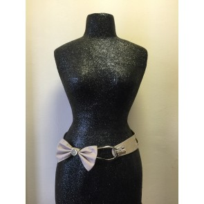 TAUPE BUTTON BOW BUCKLE BELT