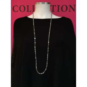 OBLONG BEAD & METAL BALL NECKLACE