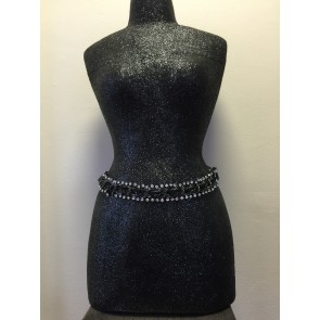 REAL LEATHER AND CHAIN DIAMANTÉ EDGE BELT