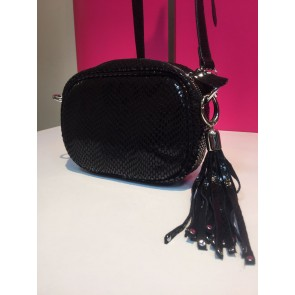 LEATHER OVAL STUD TASSEL CROSS BODY BAG