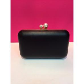 PEARL CLASP DETAIL PU BOX CLUTCH BAG