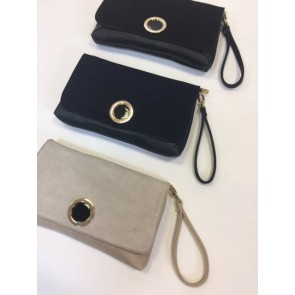 REAL SUEDE FLAP ENAMEL STYLE DETAIL CLUTCH BAG WITH CROSS BODY STRAP