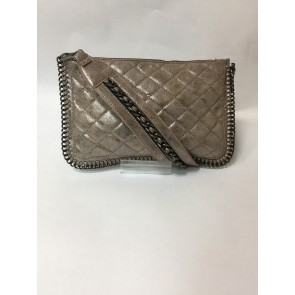 METALLIC QUILTED CHAIN EDGE WALLET