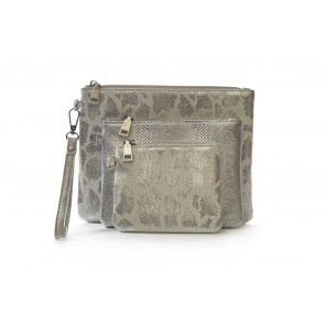 3 PIECE ASSORTED SIZE METALLIC WALLET SET