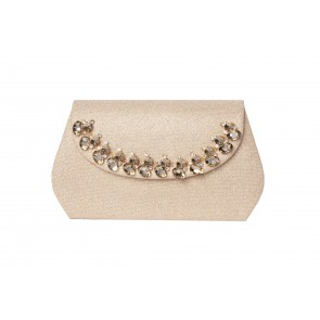 GLITTER EVENING BAG, BOXY SHAPE & CRYSTAL DETAIL