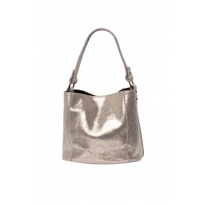 SMALL REAL LEATHER BUCKET BAG WITH INNER BAG