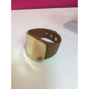METAL PLATE LEATHER CHUNKY CUFF BRACELET