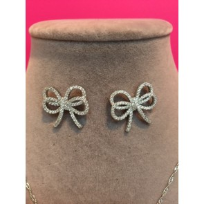 BOW PAVE NECKLACE & EARRING SET