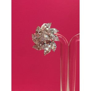 CRYSTAL FLORAL DESIGN CLIP ON EARRINGS