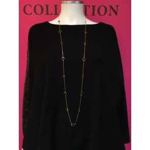 SCATTERED STARS BLACK ENAMEL STYLE LONG NECKLACE