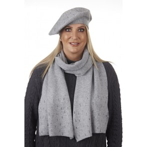 CRYSTAL DETAIL SCARF & BERET SET