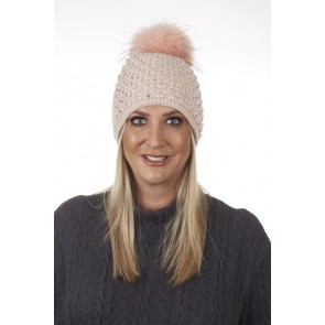 BLING DETAIL DETACHABLE REAL FUR POM POM HAT