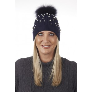 PEARL DETAIL DETACHABLE REAL FUR POM POM HAT