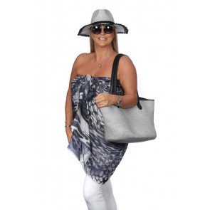 STRAW & FRAYED TRIM HAT & BAG SET