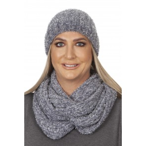 LUREX CHENILLE HAT AND SNOOD SET