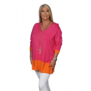 COLOUR BLOCK BORDER V NECK JUMPER