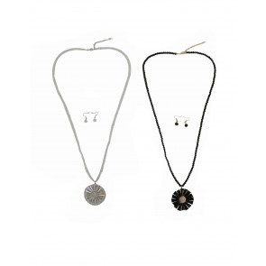 CRYSTAL FLOWER NECKLACE AND EARRINGS SET PACK OF 2 Multi Pack BLACK/SILVER