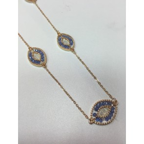 CHAMPAGNE CRYSTAL GOLD OVAL DISC BEAD NECKLACE