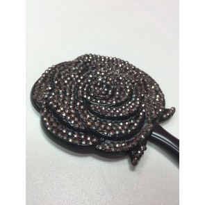 DIAMANTÉ FLOWER HAND MIRROR